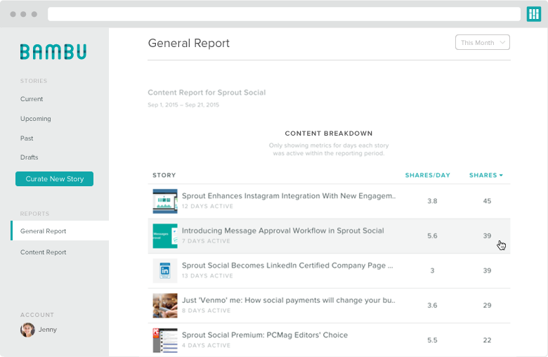 what is employee advocacy content breakdown screenshot