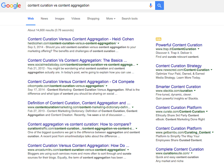 content curation vs aggregation se