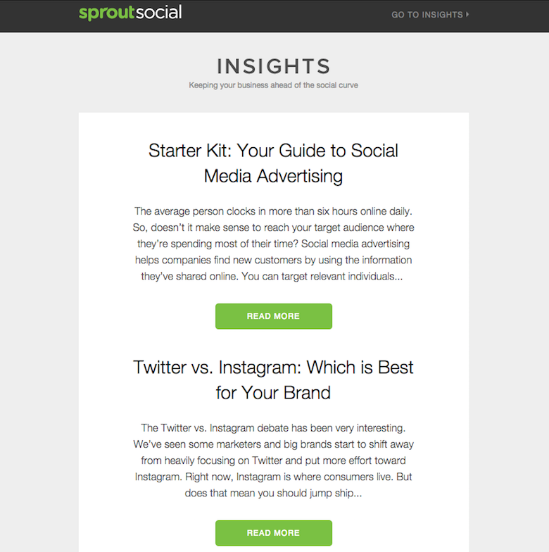 insights content curation email example